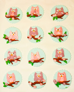 12 pink and purple owl cupcake toppers