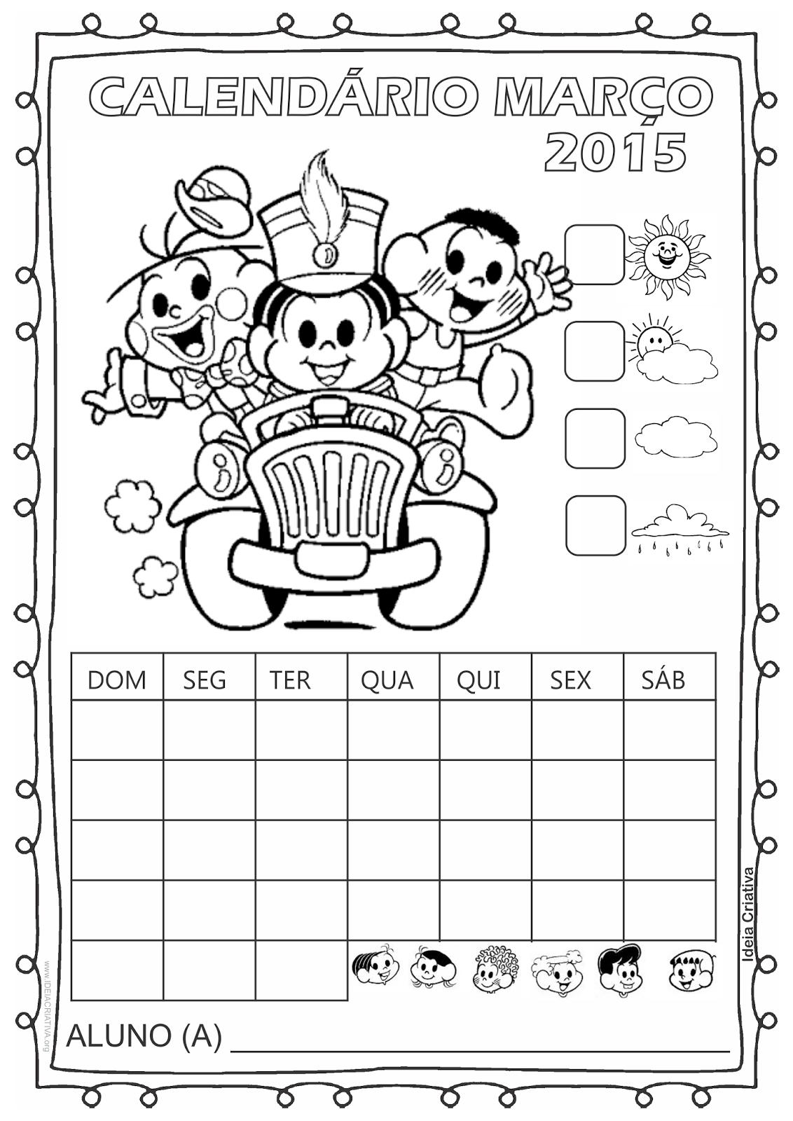 Calendário Turma da Mônica 2015 para Imprimir Março Dia do Circo