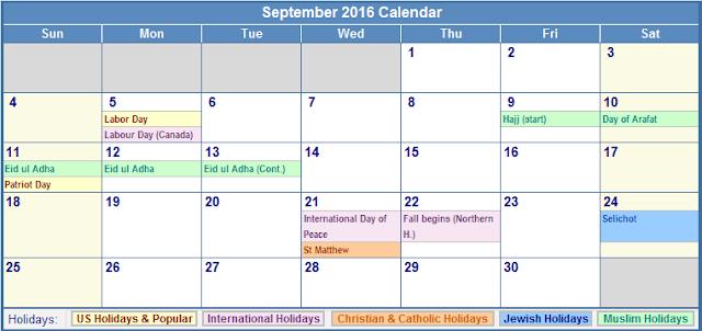September Calendar 2016 With Holidays : September calendar with holidays usa uk canada