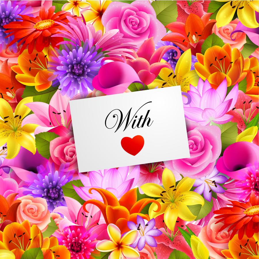 花弁に囲まれたバレンタインデーカードの背景 background Valentine's Day flowers イラスト素材