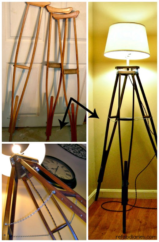 Upcycle Old Crutches New Lamp The Refab Diaries
