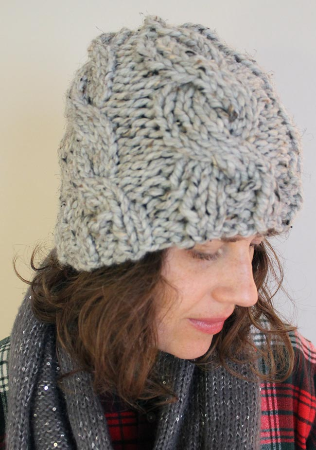 Sideways Knitting Patterns Free : Lula Louise: Chunky Cable Knit Hat with Free Pattern