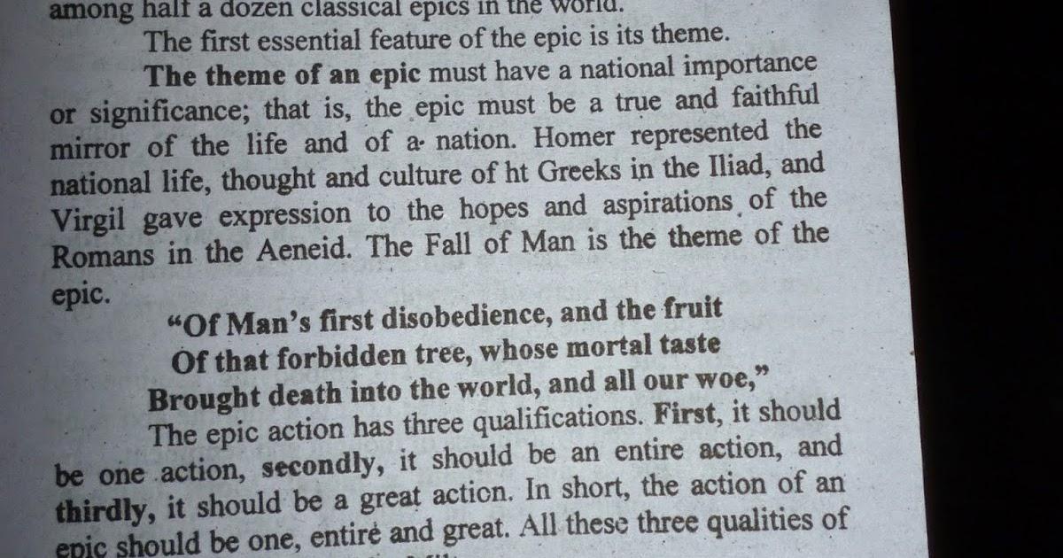 epic characteristics of paradise lost essay