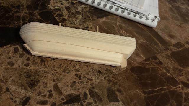 wooden model ship hull keel rudder