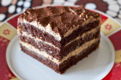 шоколадова торта с портокалов крем - парче