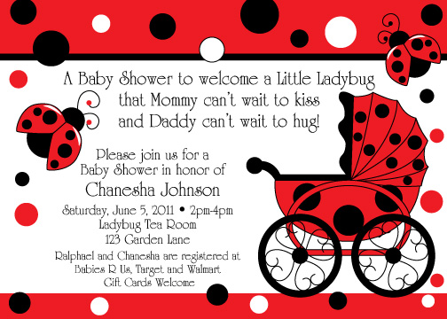 Ladybug Buggy Baby Shower invitations | Birthday Party Ideas