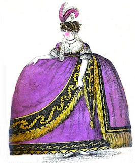 A lady in court dress  from A book explaining the ranks  and dignities of British Society (1809)