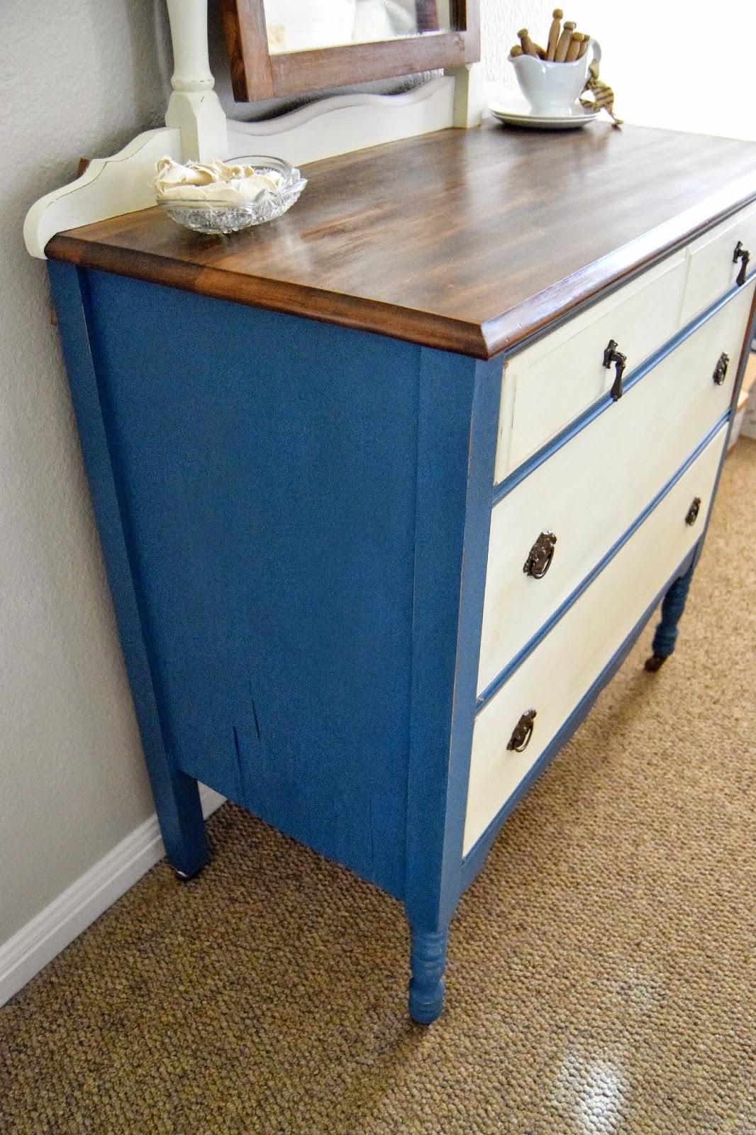 Home Made Flow Blue And White Vintage Dresser Makeover