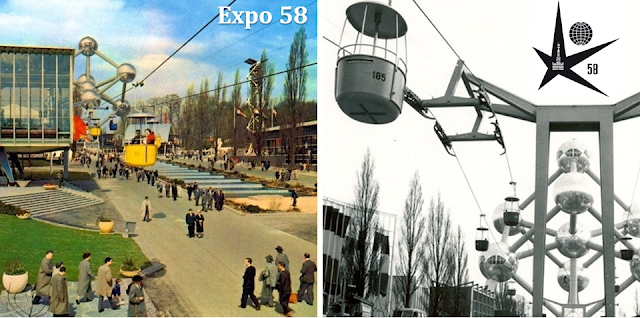 Plateau du Heysel - Bruxelles - Le téléphérique de l'Exposition universelle de 1958 - Bruxelles-Bruxellons