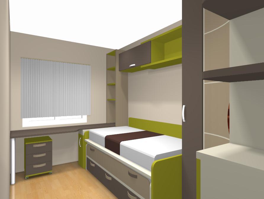 La habitaci n juvenil combinada en tonos arena papaya y - Cajones para debajo de la cama ...