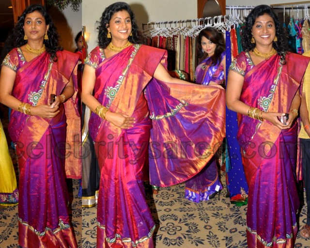 Roja in Bright Pink Silk Work Saree