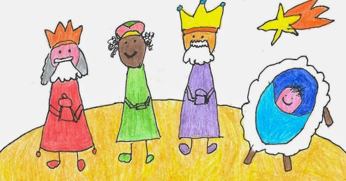 Dibujo De La Estrella De Navidad Guiando A Los Tres Reyes ...
