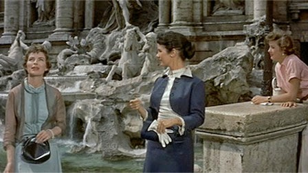 trevi fountain, coins, actresses, film, 1954,