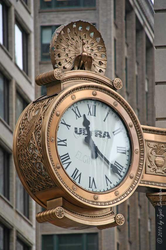 Public Art In Chicago Loop Peacock Clock