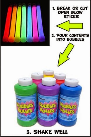 glow sticks and bubbles