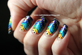 tribal fishtail gradient nail art