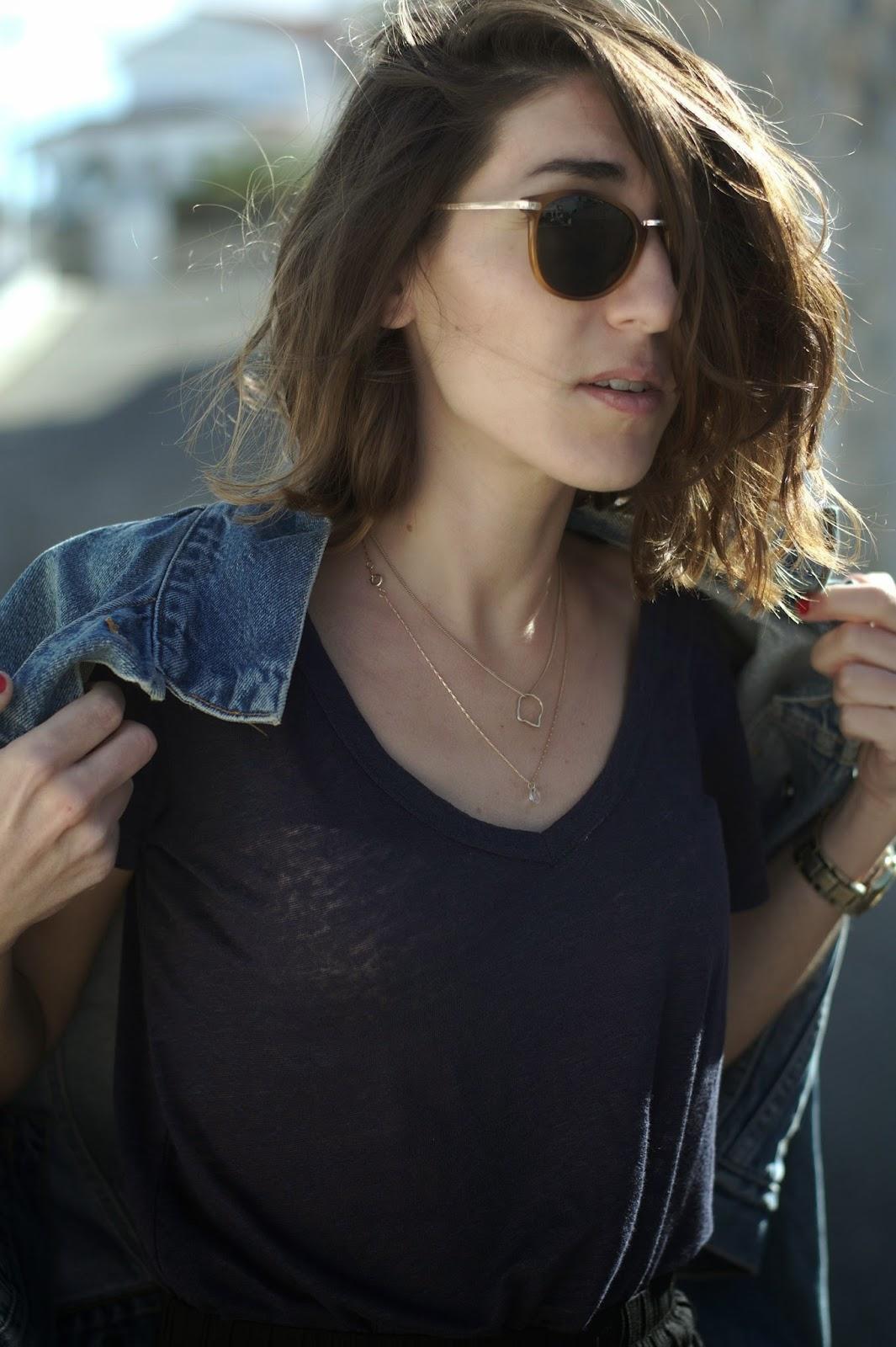 Culotte, camiseta, gafas de sol H&M, chaqueta Levi's, Sandalias Menbur