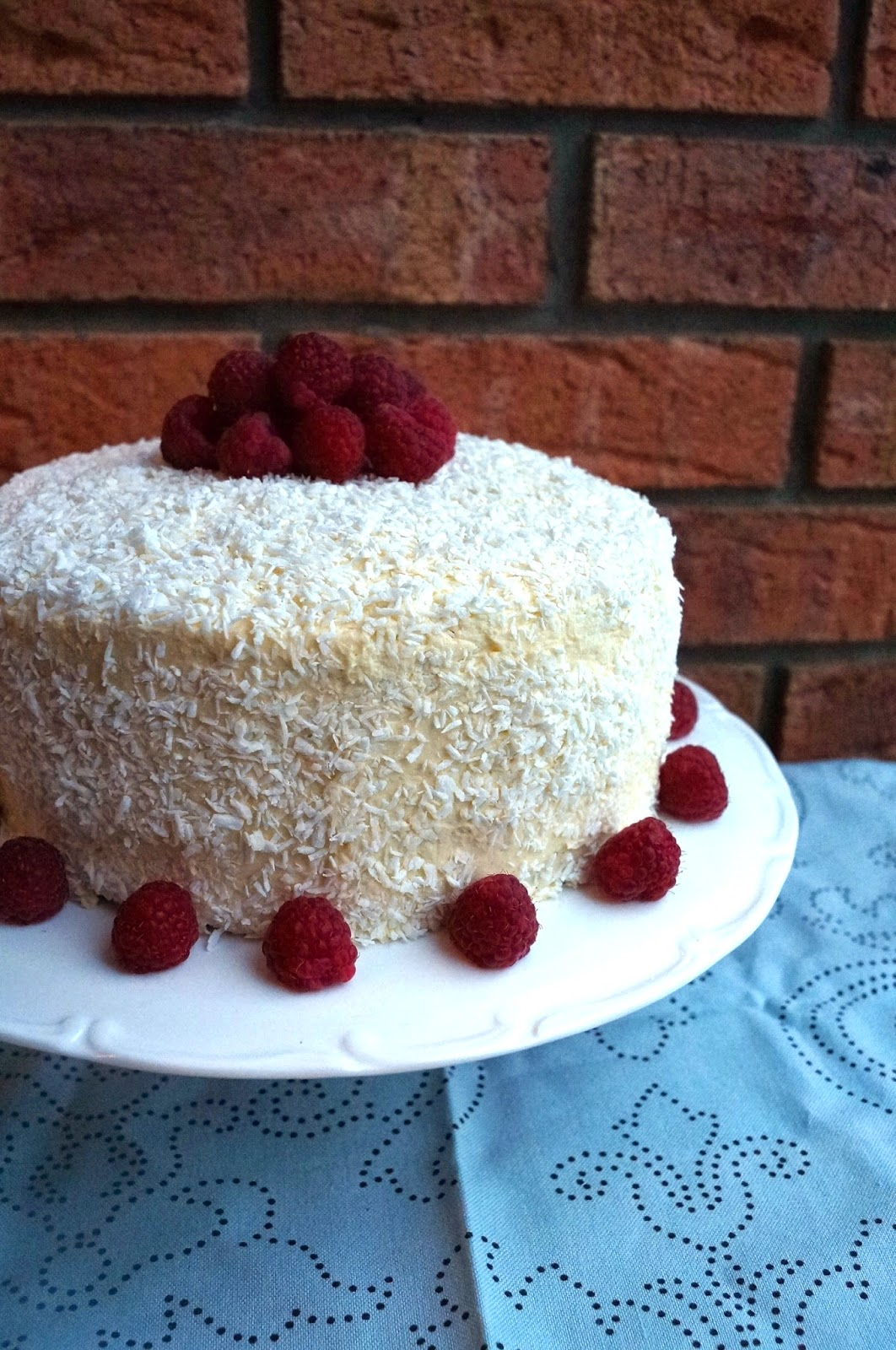 Raspberry-Coconut Cloud Cake Recipe — Dishmaps
