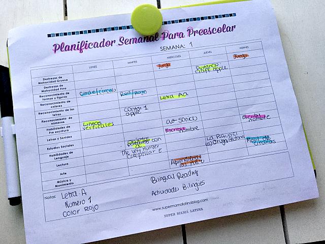 Planificador Semanal para Preescolar { Imprimible Gratis }