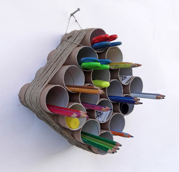 toilet paper roll crafts, recycled crafts, pen holder, wall mounted pen holder, wall mounted storage system, paper roll crafts, kids crafts,