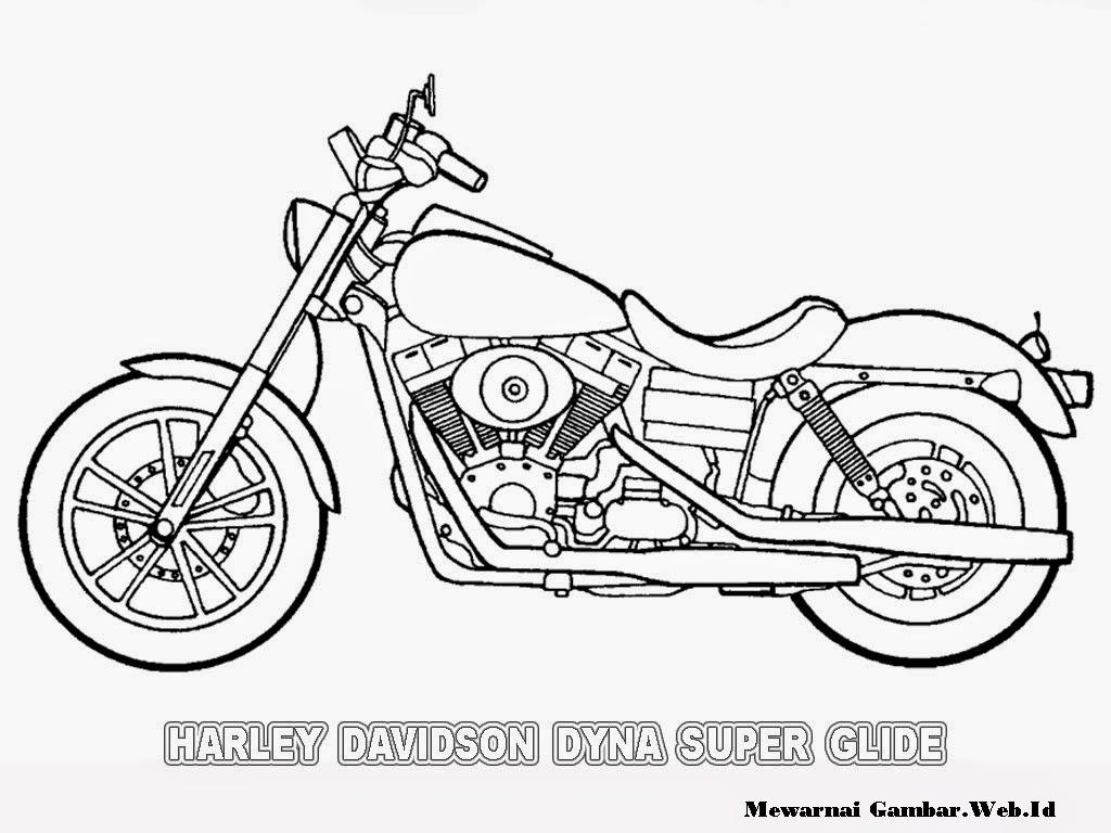mewarnai gambar motor harley davidson