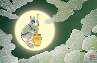 hare with mortar and pestle in full moon