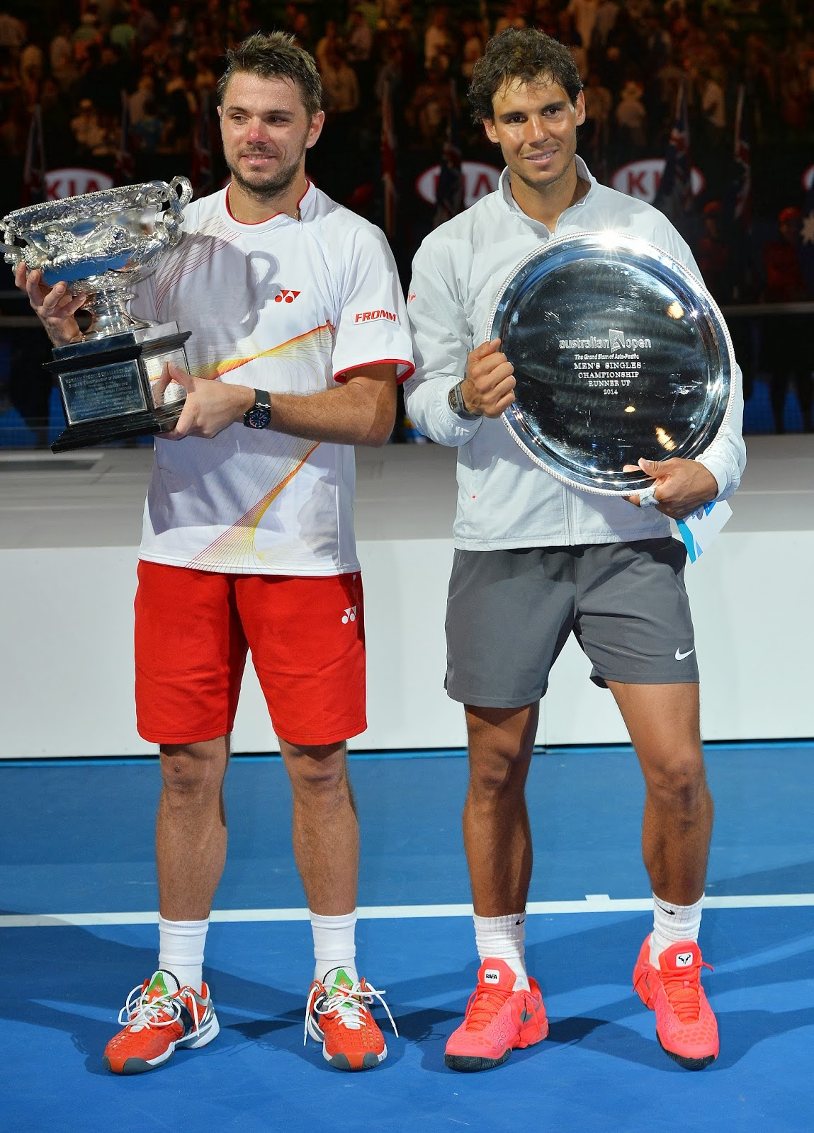 2014, Australia, Australian Open, Final, Grand slam, Injured, Melbourne, Rafael Nadal, Singles, Spain, Sports, Stanislas Wawrinka, Switzerland, Tennis, Title, Trophy, Victory, Winner,