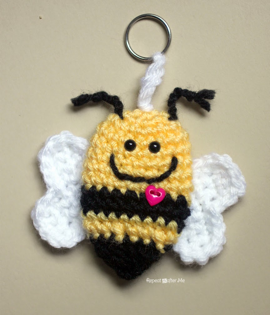 Free Crochet Patterns Yarn Bee : Repeat Crafter Me: Crochet Bumble Bee Keychain