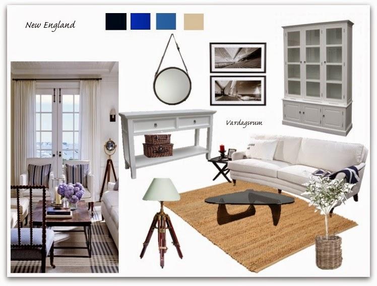 Casa de magnolia: Mood board vardagsrum i New Englandstil