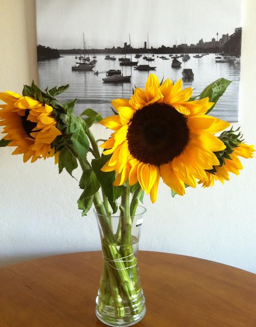 Southernspoon blog: big potato latkes with fried eggs blogpost (sunflowers!)