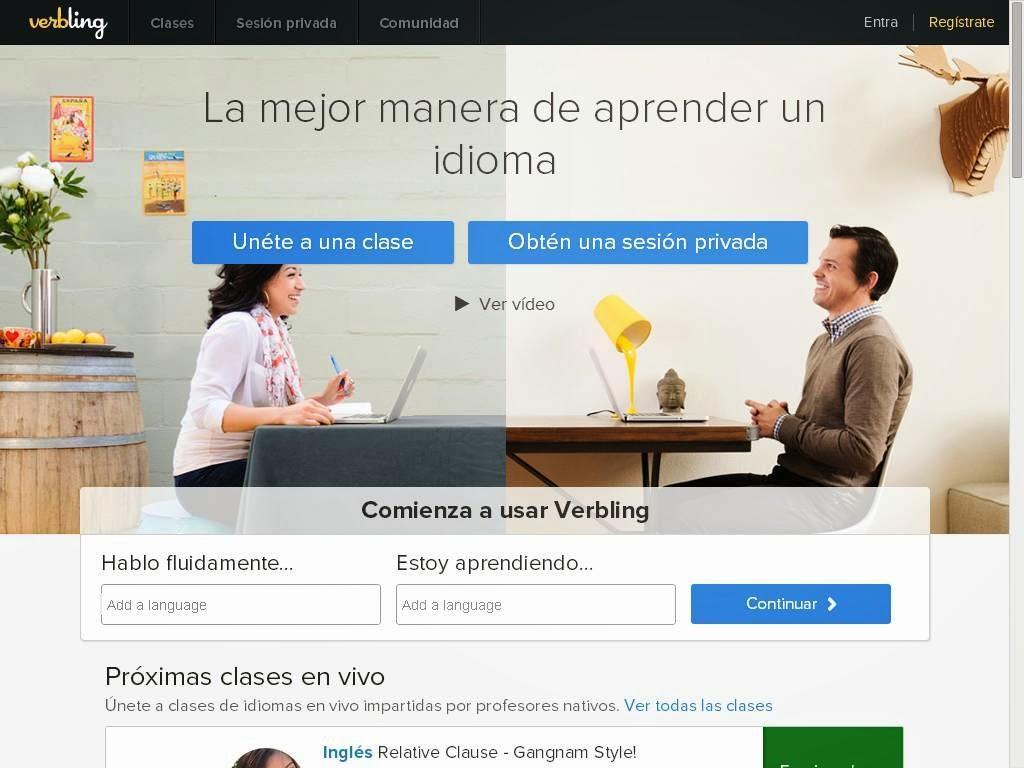 verbling.com te permite varias modalidades de intercambio gratuitos de inglés.