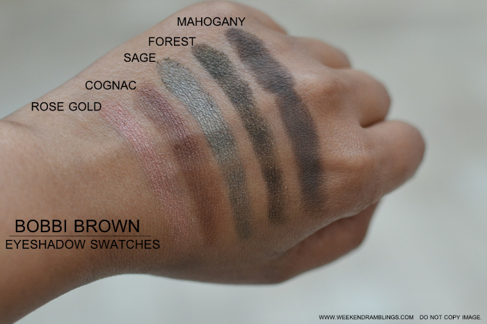 Best Must Have Eyeshadows for Indian Darker Skin Bobbi Brown Swatches Rose Gold Cognac Sage Forest Mahogany Makeup Beauty Blog