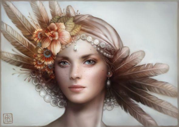 Anna Dittmann escume deviantart ilustrações belas singelas surreal mulheres Plumagem