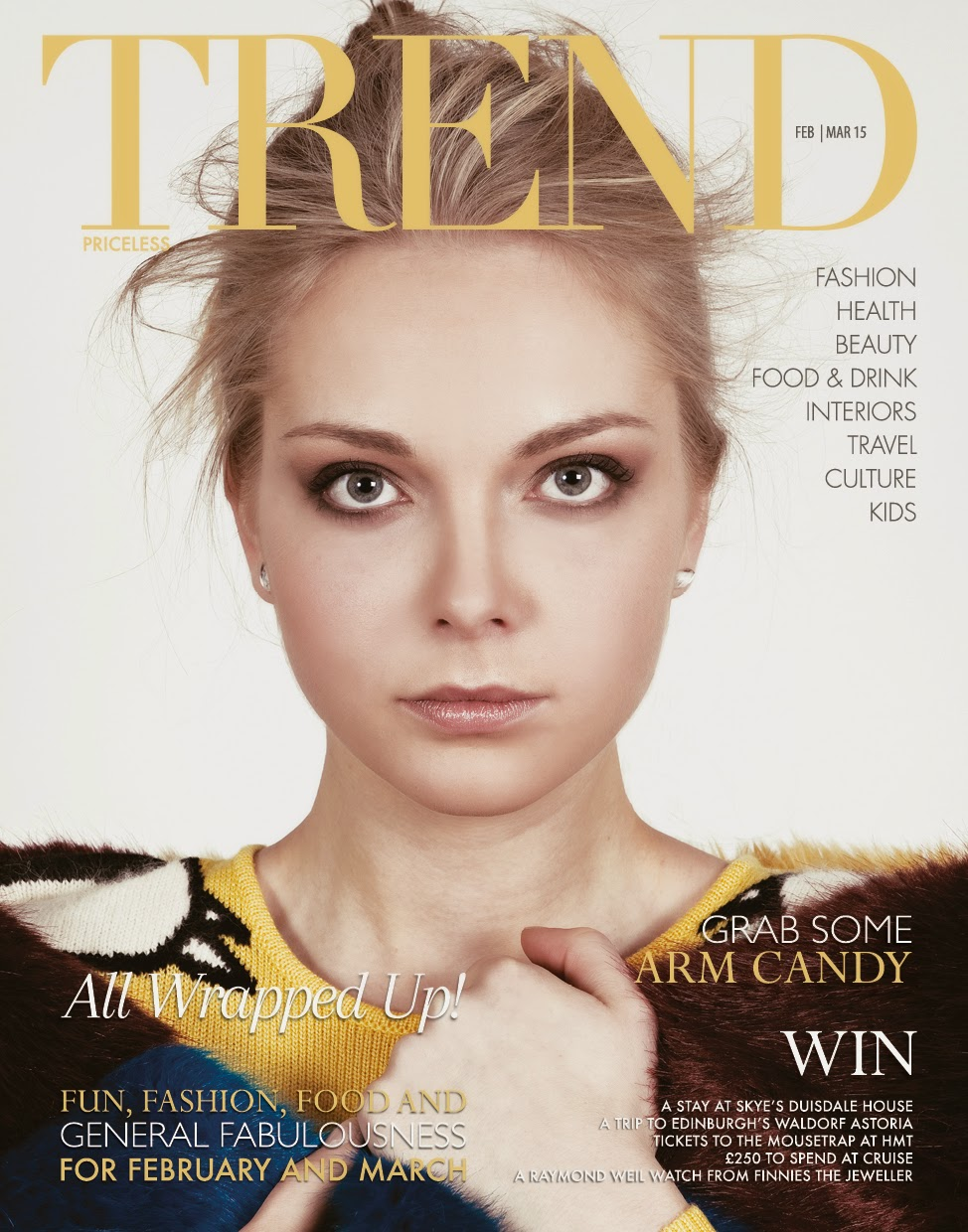 Front page for Trend Magazine, Aberdeen, wispy hair, texture.