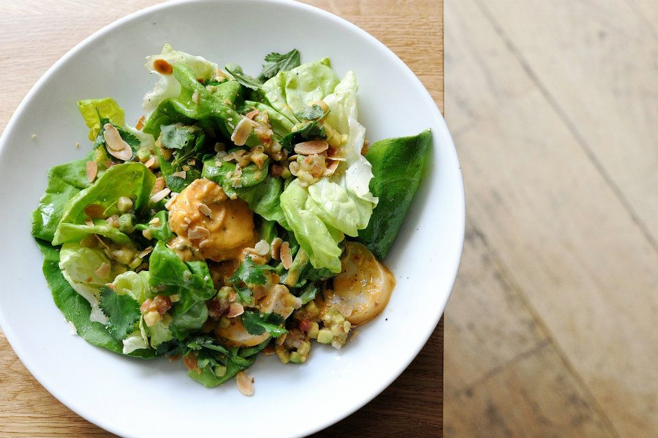 Coronation Chicken Salad, butterhead lettuce, toasted almonds