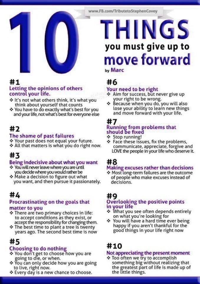 10 Things You Must Give Up To Move Forward : eAskme
