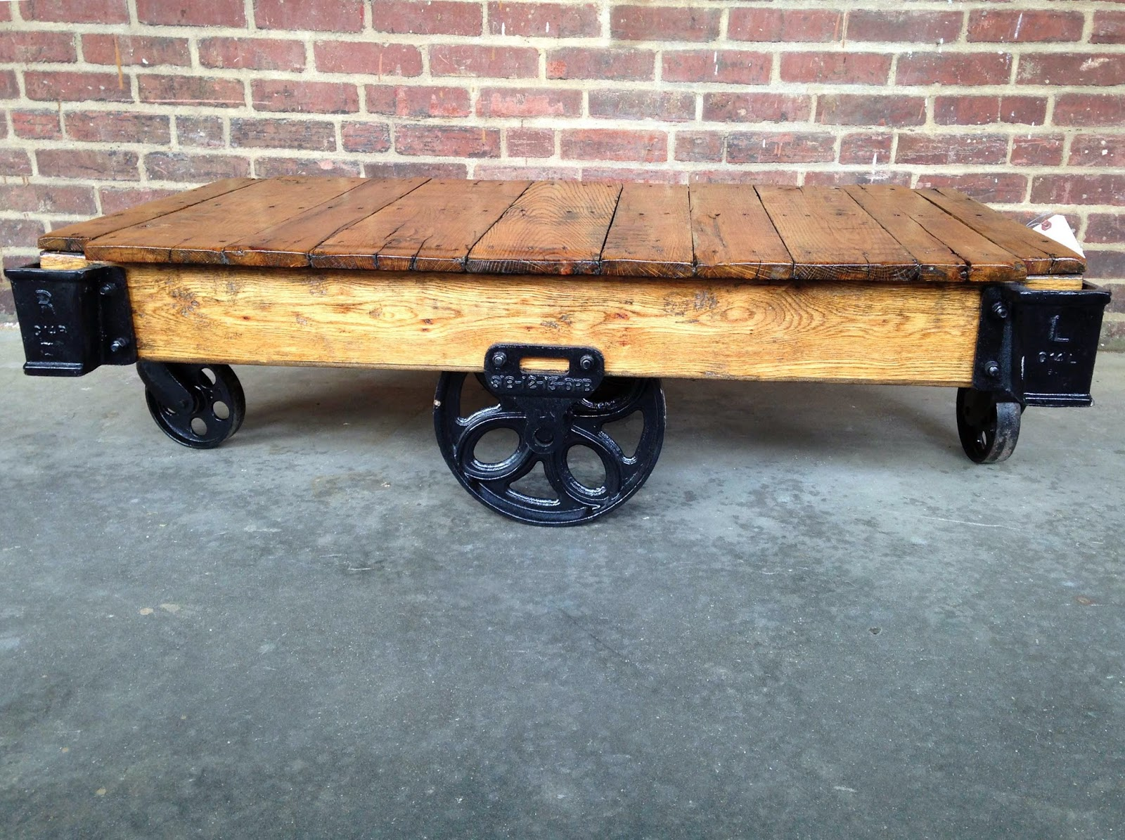 Lineberry daisy wheel coffee table cart