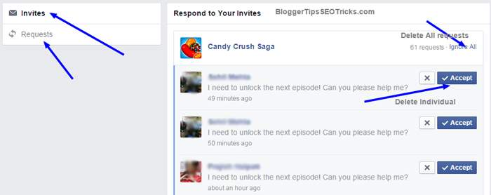delete all the candy crush requests in single click