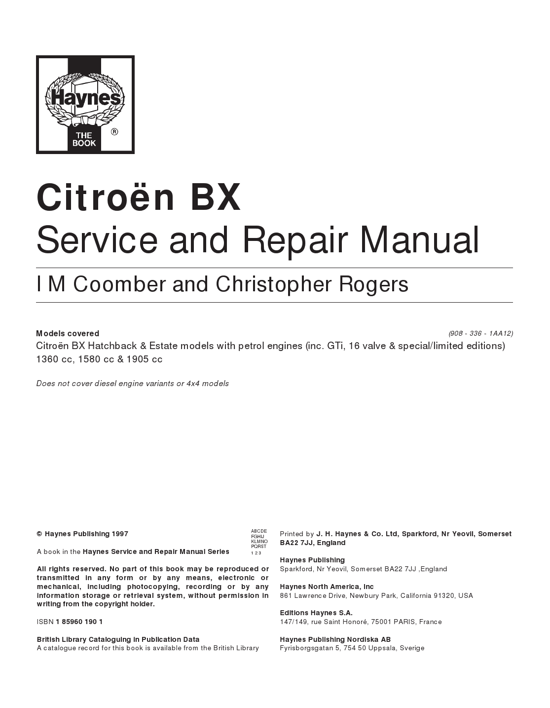 Citroen Manuals  Free Citro U00ebn Bx Service And Repair Manual Pdf