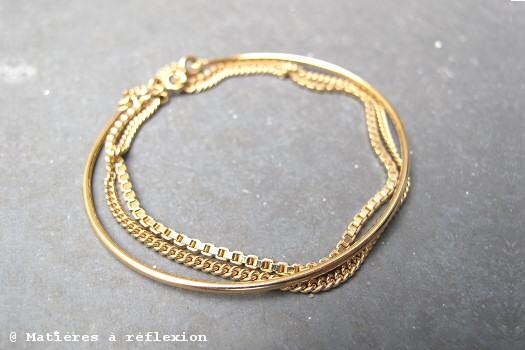 Bracelet 3 anneaux Adeline Cacheux or