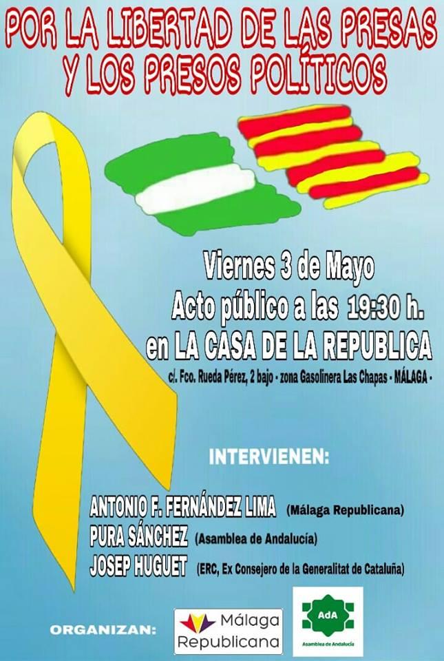 Málaga 3 Mayo: Acto POR LA LIBERTAD DE LAS PRESAS Y PRESOS POLÍTICOS