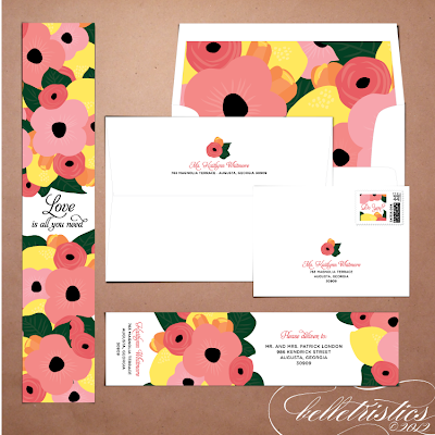 printable diy floral citrus hand drawn wedding stationery