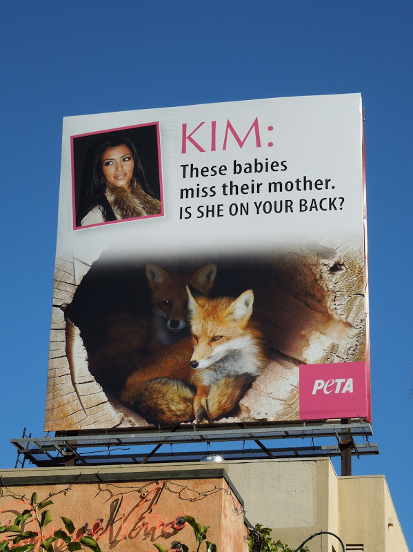 PETA Kim Kardashian fox fur billboard