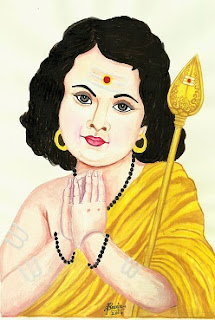 Poster colour Painting of Lord Karthikeya by Sreeja Renganath
