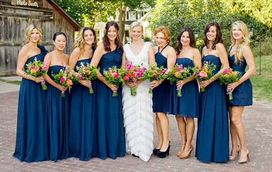 navy blue wedding ideas bridesmaid dresses