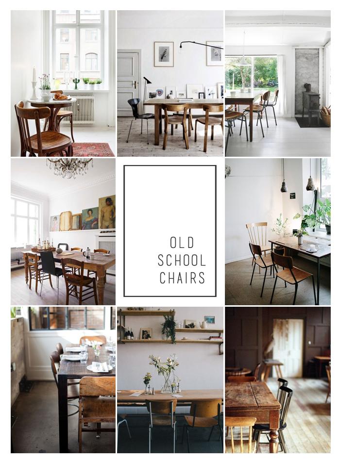Szkolne drewniane krzesła przy stole w jadalni