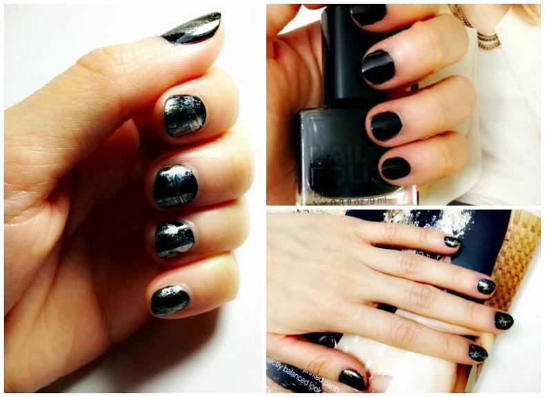 graffiti black and gold nails