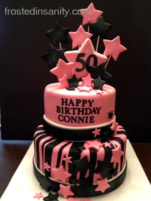 Frosted Insanity Pink And Black 50th Birthday Cake