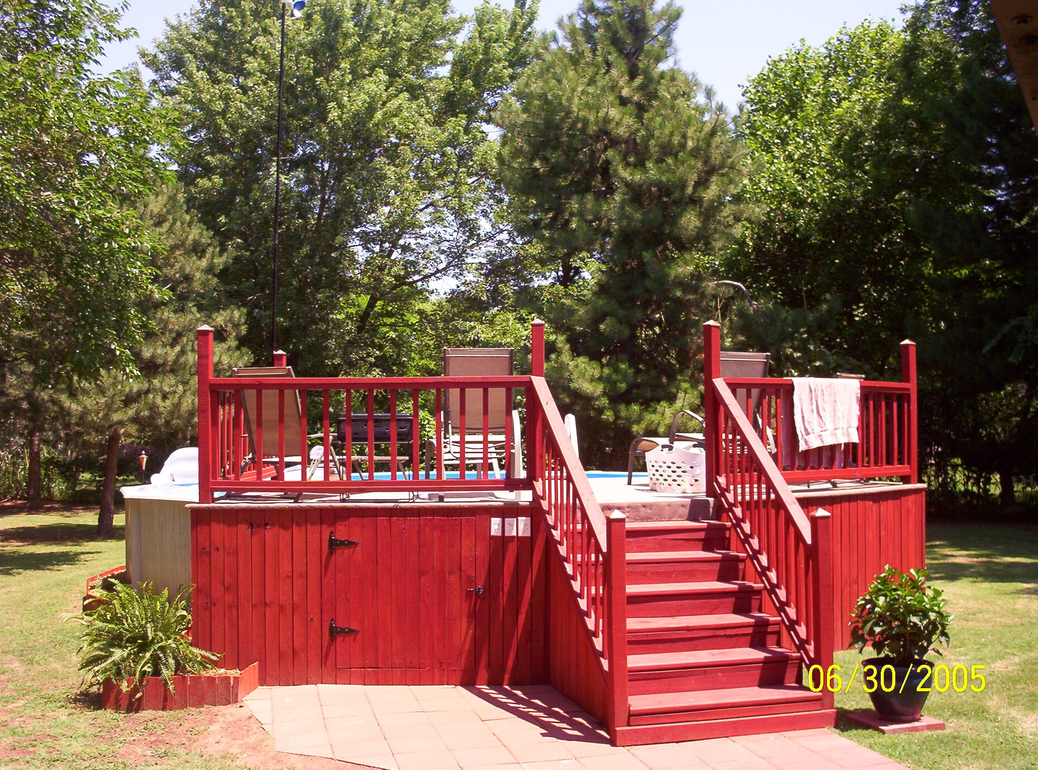 Above Ground Pool Decks Red Fence