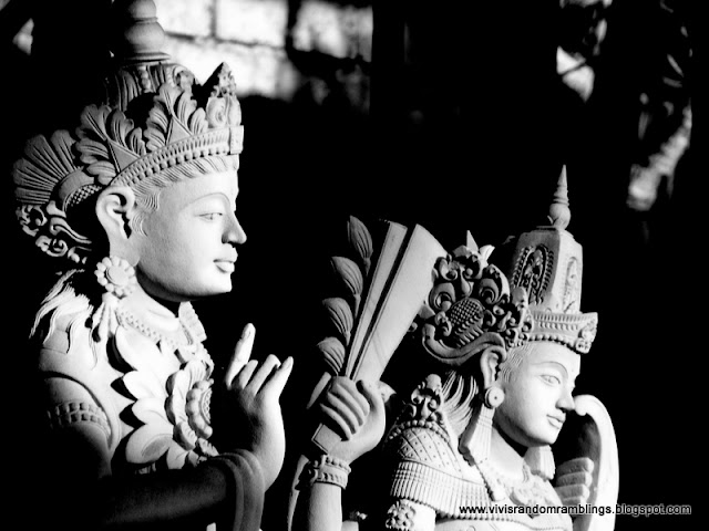 black and white photo of a Balinese statue, bali